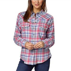 JACHS GIRLFRIEND Bea Flannel Snap-Front Shirt EUC